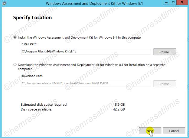 2.3.2-1 Windows ADK 8.1 Kurulumu