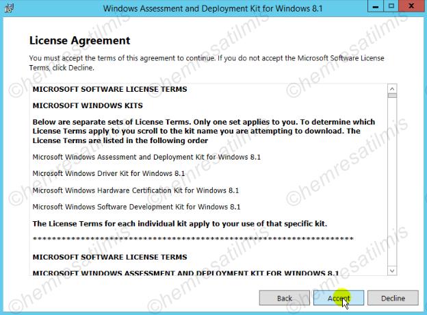 2.3.2-3 Windows ADK 8.1 Kurulumu