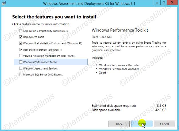 2.3.2-4 Windows ADK 8.1 Kurulumu