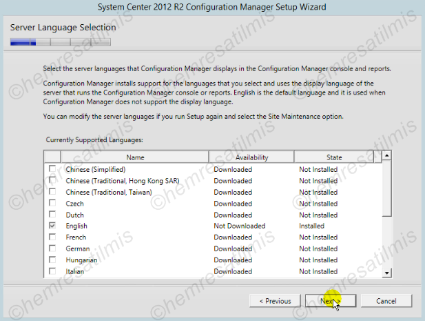 2.4.-10 System Center Configuration Manager Kurulumu