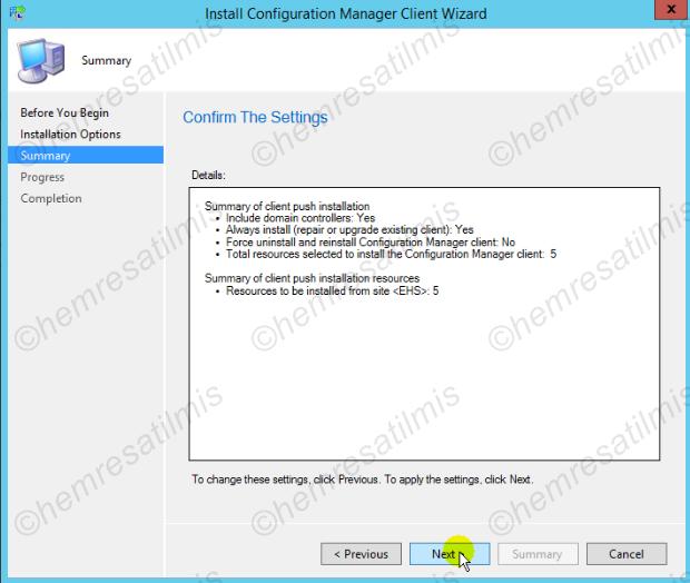 3.5.3.-03 Domain Controller'lara Client Kurulumu (Client Push Wizard Yöntemi)