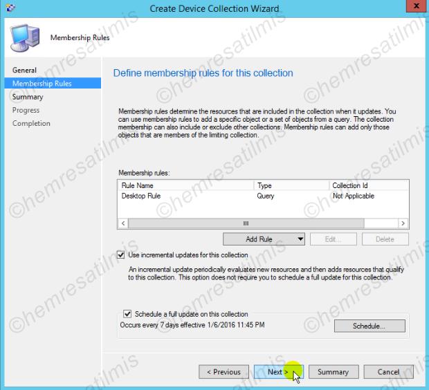 3.6.2.-11 Device Collection ve User Collection Oluşturulması