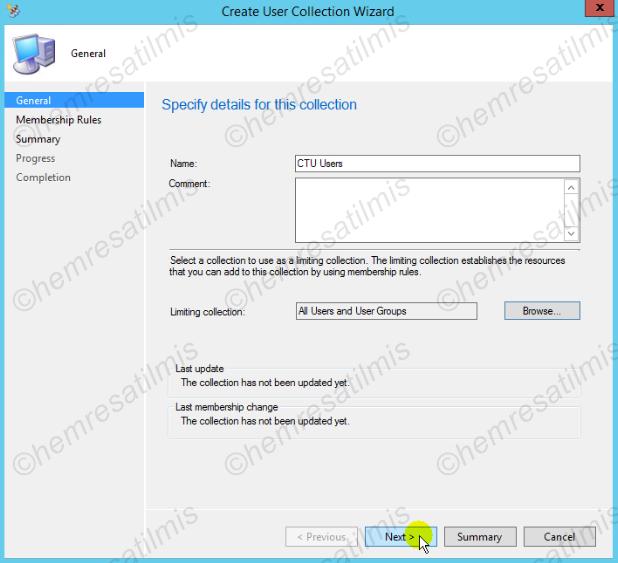 3.6.2.-15 Device Collection ve User Collection Oluşturulması