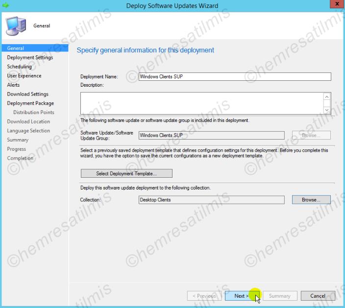 4.-17 SCCM 2012'de Yazılım Güncelleme Dağıtımı (Software Update Deployment)