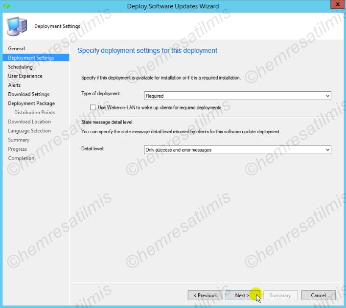 4.-18 SCCM 2012'de Yazılım Güncelleme Dağıtımı (Software Update Deployment)