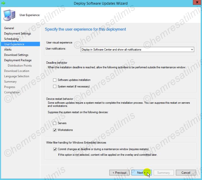 4.-19 SCCM 2012'de Yazılım Güncelleme Dağıtımı (Software Update Deployment)