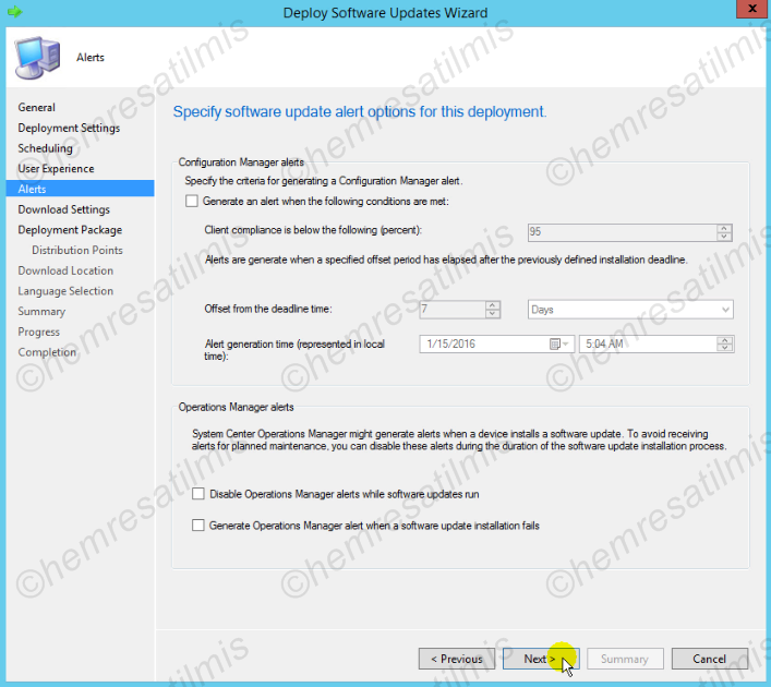 4.-20 SCCM 2012'de Yazılım Güncelleme Dağıtımı (Software Update Deployment)