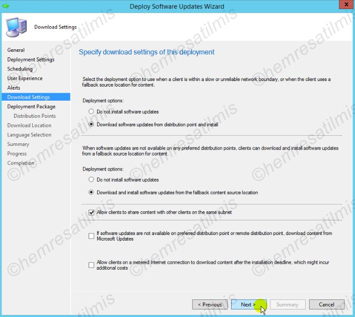 4.-21 SCCM 2012'de Yazılım Güncelleme Dağıtımı (Software Update Deployment)