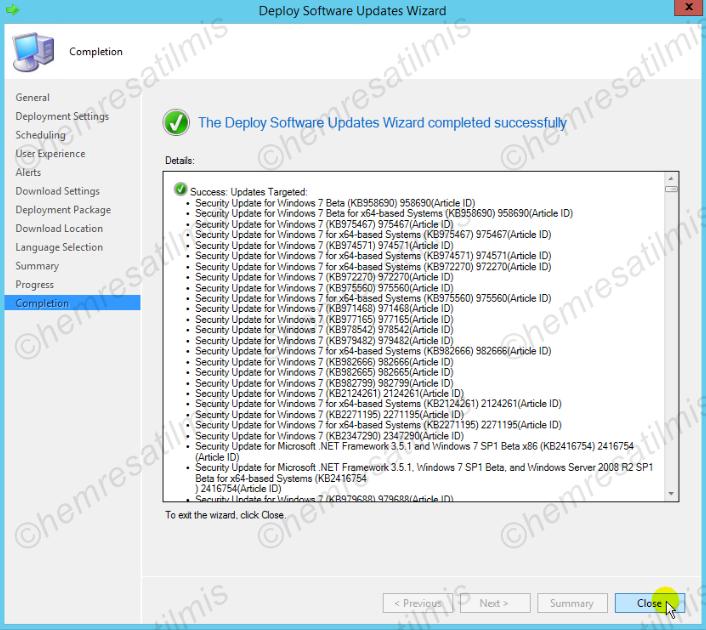 4.-26 SCCM 2012'de Yazılım Güncelleme Dağıtımı (Software Update Deployment)