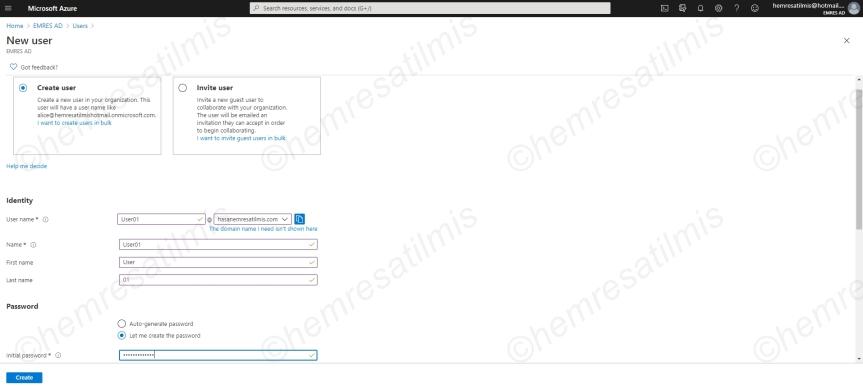 Azure Active Directory'de KullanıcıOluşturma
