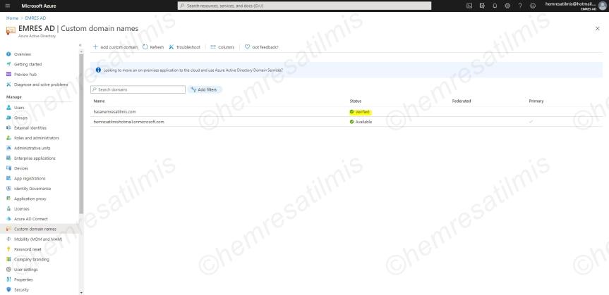 Azure Active Directory'e Özel Alan AdıEklenmesi