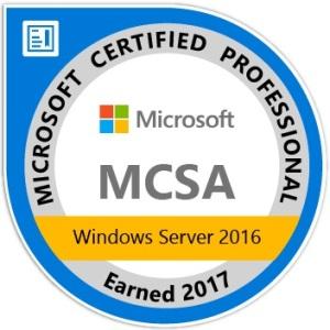 MCSA Windows Server 2016 - Certified 2017